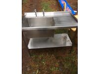 Single stainless steel commercial sink