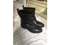 Black leather biker boots, size 5m White Company