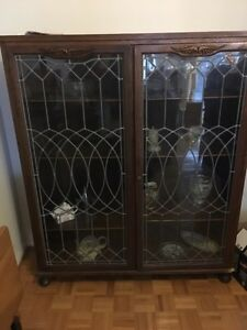 Antique leaded glass bookcase.