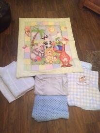 Large bundle of baby blankets/duvet