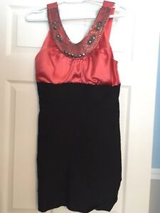 Black and salmon dress with beading