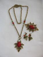Vintage Necklace Brooch Pin & Earring Set Carnelian & Jade Glass