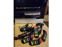 PS3 lots of extras + 92 games £100 All boxed 2 wireless game pads, 2 karaoke mics and 4 quiz pads