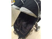 City mini double by baby jogger with rain cover - latest version with new logo