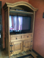 Meuble/Armoire Audio-Video en pin massif - Rustic Cabinet
