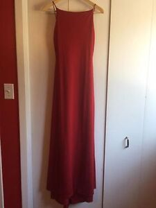 Red Full length dress with low back, size 4