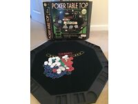 Table top poker board with collection of chips