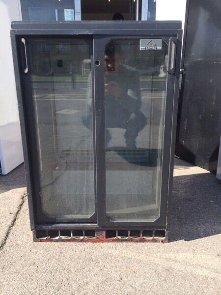 Glass door undercounted fridge