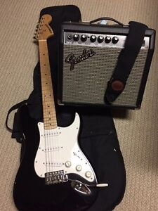 Fender electric guitar and amp set