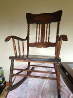 Antique Solid Wood Rocker with Arms
