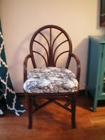 RATTAN CHAIR – REFINISHED Rattan & REUPHOLSTERED seat