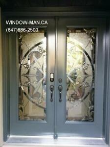 Entry Door Entrance Glass Stained  contemporary or traditional D