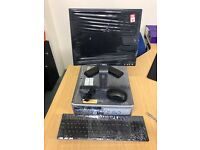 Hp desk top pc monitors keys boards and mouse