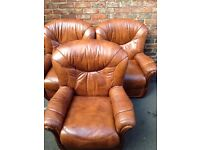 Three leather chairs free delivery