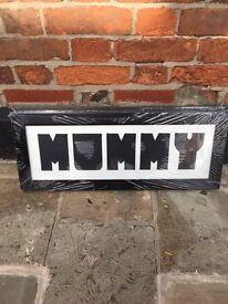 name or word framed