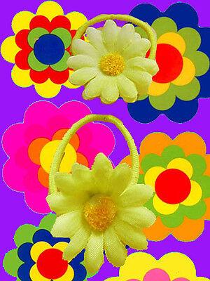 A67✪ 70er Jahre Hippie Flower-Power Margeriten Haargummis Zopfgummi gelb