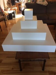 White wooden display unit