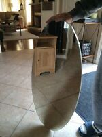 Oval IKEA Mirror with Rod for Hanging Clothes