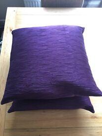 2 Purple/Plum Cushions - Brand New & Unused