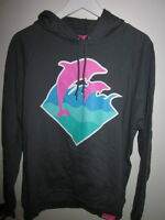 MENS PINK DOLPHIN HOODED SWEATER SIZE M SLIM FITTED