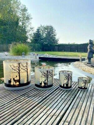 Windlicht Weihnachten Hirsch Natur Teelicht Glas Kerzenleuchte colmore 7 x 8 cm online kaufen