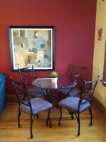 Beautiful glass table and chairs for four
