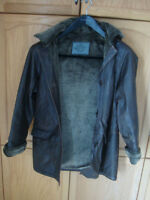 SMALL LADIE'S WOMEN'S BROWN DISTRESSED LEATHER JACKET SIZE S