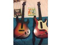 Guitar hero 5 and band hero games inc two guitars for Xbox 360
