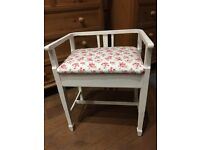 Stunning Piano Stool Painted in Annie Sloan Old White/ Upholstered