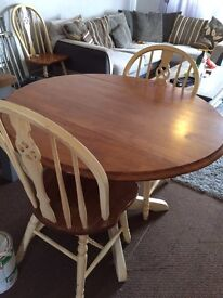 Table and chairs solid pine shabby chic!!!