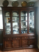 Cherrywood china cabinet and hutch