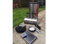 Kitchen bin/tea coffee and sugar jars/ assorted plates