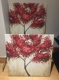 2 Beautiful Japanese Blossom Printed Canvases