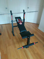 Bench press + bar + weights / Banc d'exercise + Barre + poids