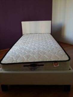 Single PU Bed Frame and Mattress. Black or White