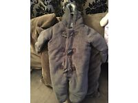 Brand new grey fluffy snow suit 6-9mth