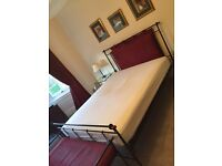 King size bed with iron frame & headboard