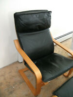 Ikea Leather Poang Chair and Footstool
