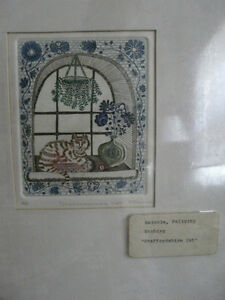"Felicity Rainnie Etching ""Staffordshire Cat"""