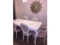 COACH HOUSE LOUIS XIV SHABBY CHIC CREAM DINIBG TABLE AND CHAIRS