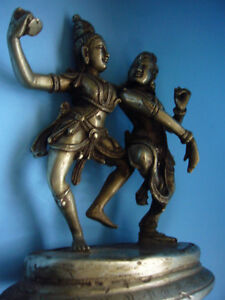 Quality old east Asia nickel silver  dancing art sculpture