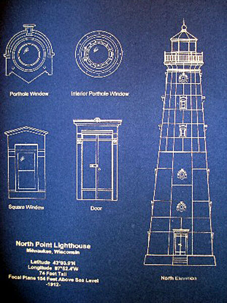 Vintage Lighthouse Milwaukee North Point 1912 Blueprint Plan 14x18 (192)