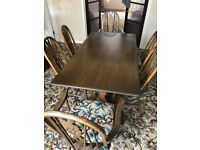 Dining room wooden table with 6 chairs