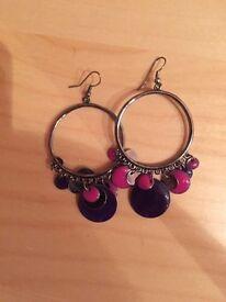 Purple and pink hoop earrings