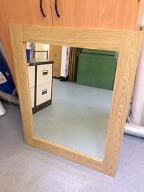 Oak veneer mirror