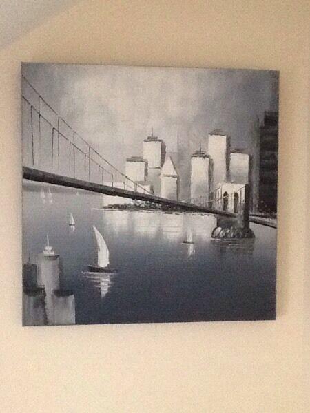 Original oil on canvas - Grey boat/ water/ bridge theme.