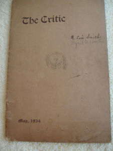 "OLD INTERESTING COLLECTIBLE 1934 ISSUE of ""The CRITIC"""