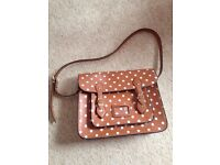Satchel bag tan with white spot never used
