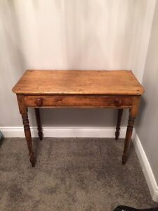 Solid wood table over 100 years old with nice dovetailed drawer Kingston Kingston Area image 1