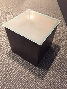Custom made glass top side tables w uplighhts